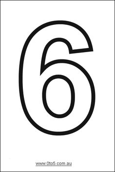 Number - six printable template