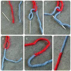 Technique pour assembler 2 bouts de laine de manière invisible et très solide. 1. une aiguille à laine et ciseaux 2. forme une boucle avec un fil, enfile l'autre dans l'aiguille 3. pique l'aiguille dans son propre fil, en passant dans la boucle de l'autre fil. Il faut enfiler l'aiguille dans le coeur du fil, au moins toute la longueur de l'aiguille. 4. tire délicatement l'aiguille pour faire passer le fil, coupe le bout qui dépasse, arrange un peu la laine. 5. faire idem avec l'autre fil