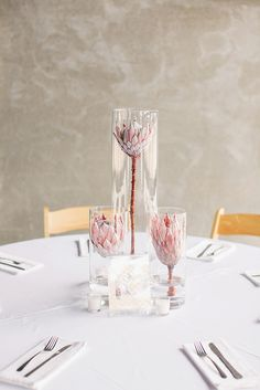 Protea centerpiece (Floral Design: Fiori Flower Studio) - Modern Chic Marfa, Texas Wedding by Mint Weddings And Events (Wedding Planning) + To Live. To Love. Photography