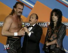 "Jake ""the Snake"" Roberts, ""Mean"" Gene Okerlund, and Alice Cooper"