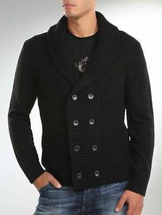BNWT GUESS Mens Double Breasted Cardigan Black Knit Sweater Size XL M24R69I0000