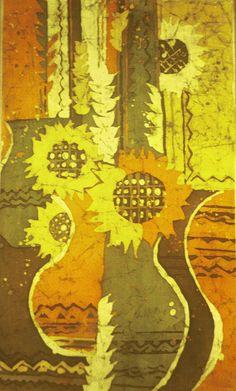 """sunflowers"" batik painting by ohankart www.ohankart.com"