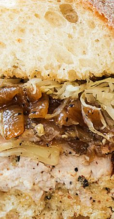 Savory flavorful and loaded with beer-braised onions and sauerkraut this juicy pork tenderloin sandwich has all the right ingredients to make the best comfort-food sandwich one in which the love can truly be tasted Leftover Pork Tenderloin, Pork Tenderloin Sandwich, Pork Sandwich, Pork Tenderloin Recipes, Sandwich Recipes, Roast Brisket, Sandwich Ideas, Beef Tenderloin, Pork Roast