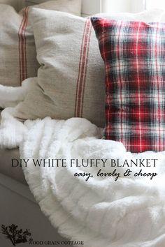 DIY White Fluffy Blanket - The Wood Grain Cottage