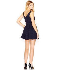 Bar III Sleeveless Brocade Flared Dress - Juniors Dresses - Macy's