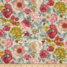 A Walk In The Park Floral Aqua from @fabricdotcom  Designed by Ro Gregg for Paintbrush Studios for Fabri-Quilt, this cotton print fabric is perfect for quilting, apparel and home decor accents. Colors include sage, grey, rose, cream, blush, and olive.