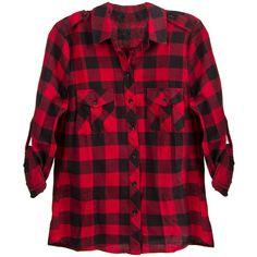 Red Plaid Flannel Top ($21) ❤ liked on Polyvore featuring tops, shirts, flannels, blouses, sleeve shirt, roll up sleeve shirt, red top, plaid shirts and tartan shirt