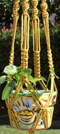 Your place to buy and sell all things handmade Crochet Decoration, Macrame Knots, Hanging Planters, String Art, Plant Hanger, Braids, Gold, Handmade Items, Diy Crafts