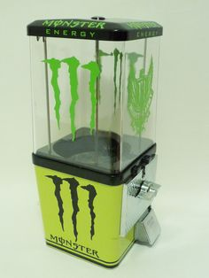 25 cents Gumball Machine completely Restored and themed to: Monster Energy drink complete with all original components including: * Machine Base & Body black & lime green Gloss * 25 ¢ Coin Mechanism *