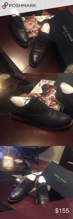 ❗️Navy Blue Cole Han Oxfords! Navy blue oxfords with sparkles women's 9.5 worn only once Cole Haan Shoes