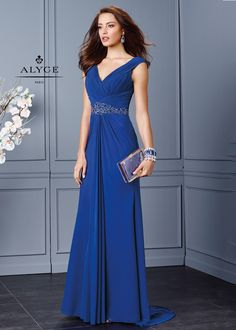 Classy sleeveless jersey mesh long gown featuring a V-cut neckline, asymmetrical pleated bodice, dazzling tonal beaded waistline, gorgeous V-cut open back, and draping sheer layered A-line skirt with sweep train.Fabric: Mesh Jersey