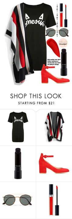 """""""215"""" by erohina-d ❤ liked on Polyvore featuring Boohoo, Chicwish, MAC Cosmetics, Gianvito Rossi, Ray-Ban, Christian Dior, NARS Cosmetics and Grey's Anatomy"""