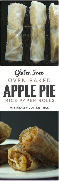 Apple Pie Rice Paper Rolls This Easy to make and so delicious Baked Apple Pie Rice Paper Rolls recipe makes a perfect dessert. Theyre Easy to make and so delicious Baked Apple Pie Rice Paper Rolls recipe makes a perfect dessert. Gluten Free Sweets, Gluten Free Cooking, Dairy Free Recipes, Vegan Recipes, Delicious Recipes, Easy Recipes, Vegan Desserts, Dessert Recipes, Pie Dessert
