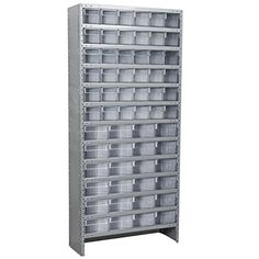 "#1:  Akro-Mils ASC1879ASTCRY Enclosed Steel Shelving Kit with 60 AkroDrawers, 18"" x 36"" x 79"", Gray/Clear"
