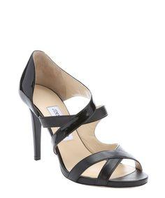 Jimmy Choo black patent leather 'Valance' strappy sandals