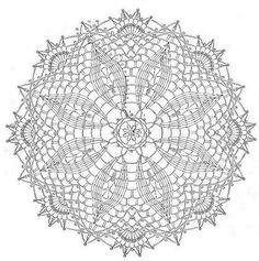 Crochet Doilies -- Free Crochet Doily Patterns This one had an repeat. Could be used for an umbrella cover if the doily is large enough. Free Crochet Doily Patterns, Crochet Doily Diagram, Crochet Circles, Crochet Chart, Crochet Squares, Crochet Motif, Crochet Designs, Knitting Patterns Free, Crochet Lace