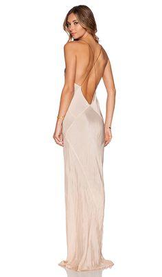 TITANIA INGLIS Long Plunge Dress in Nude & Black | REVOLVE