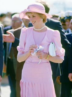 Princess Diana's 20 Best Style Moments, April 1985: While in Sicily, Diana chose another Catherine Walker ensemble with a pale pink hat.