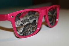 lace nerd glasses    http://www.etsy.com/shop/candicandi24  black lace rave fashion  hot pink glasses