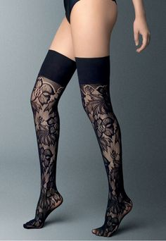 Openwork lace/net over-the-knee socks with floral pattern