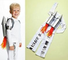 Dress up your kids in fun DIY Halloween costumes you make with everyday household items. Fancy Dress Costumes Kids, Fancy Dress For Kids, Toddler Costumes, Halloween Dress, Baby Costumes, Diy Halloween Costumes, Cool Costumes, Spaceman Costume, Costume Ideas