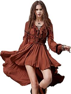Cotton Asymmetrical V-neck Long Sleeve Dress