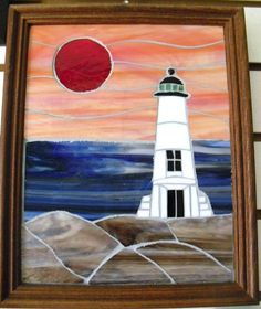 Stain Glass Mosaic  sunset and Light House by BlueMermaidofRincon, $95.00