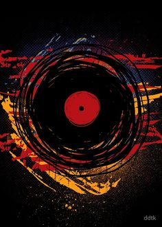 Vinyl Record Retro Grunge with Paint and Scratches - Music DJ! by ddtk