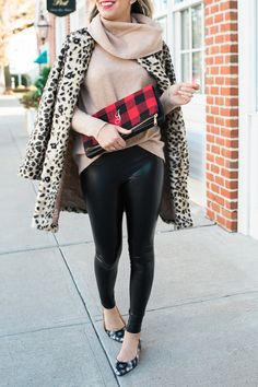 Leopard coat and leather leggings