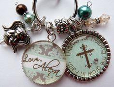 Personalized Godmother keychain 2 pendants, childrens name, god daughter, god child, god son, gift, present, religious, catholic cross