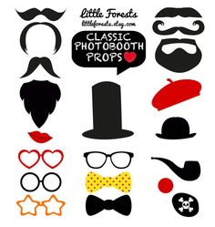 DIY Photo Booth Props Classic Moustaches Beards por littleforests