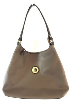 "Tommy Hilfinger Handbag Purse Brown Faux Leather 11-1/2"" Open at Top 10"" Tall  #TommyHilfiger #Tote"