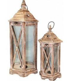 Drewniany lampion duży i mały Stella