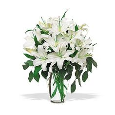 These gorgeous white lilies are so classically elegant, they're sure to turn any occasion into an idyllic one. Perfect for special days or every day. White lilies with eucalyptus arrive in a stylish clear glass vase.