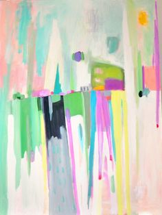 24x36 large abstract canvas original painting greens, purples, yellows, whites