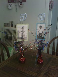 Some table center pieces for a Birthday party I made! Some table center pieces for a Birthday party I made! Diy 60th Birthday Decorations, 60th Birthday Ideas For Mom, 50th Birthday Cards, 70th Birthday Parties, Birthday Centerpieces, 50th Party, 60 Birthday, Craft Party, Party Time