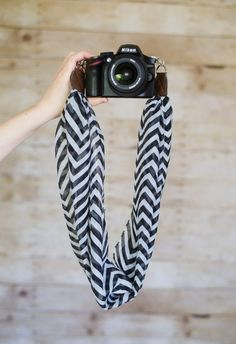 DSLR Scarf Camera Strap  Black and White Chevron by ImaniStudio
