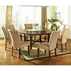 Large Dining Room Table Sets Best Of 9 Pc Avenue Round Dining Table Set with Lazy Susan Wooden Dining Table Modern, Large Round Dining Table, Round Dining Table Sets, Dining Room Table Decor, Glass Dining Table, Dining Room Furniture, Table And Chairs, Dining Chairs, Round Tables
