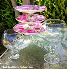 {DIY} 99 Cent Store Dessert Tier and Pedestal Bowls | Made by a Princess Parties in Style