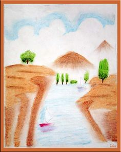 Oil Pastel Landscape Drawing