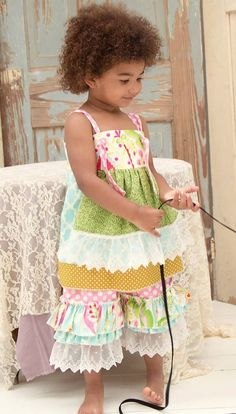 Girls Spring Apron Dress/Double Ruffle by VintageJunkieCo on Etsy