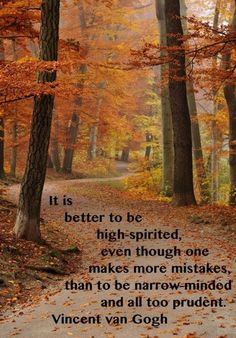 It is better to be high-spirited, even though one makes more mistakes, than to be narrow minded and all too prudent. - Vincent van Gogh