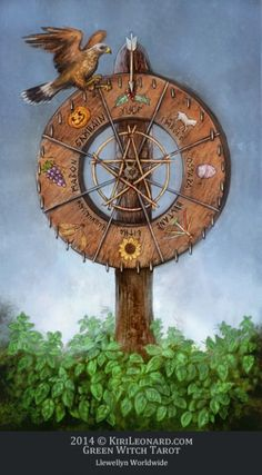 Green Witch Tarot: Wheel of the Year La roue de l'annee Tarot de la Magie Verte Wheel Of Fortune Tarot, Le Tarot, Spiritual Images, Spiritual Path, Online Tarot, Tarot Card Decks, Major Arcana, Oracle Cards, Magick