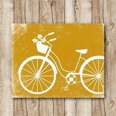 bicycle art download bicycle poster mustard yellow wall decor jpg, bicycle printable, bicycle instant download, bicycle digital print grunge
