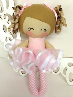 Ballerina Handmade Doll Rag Doll Fabric Dolls by SewManyPretties, $47.00
