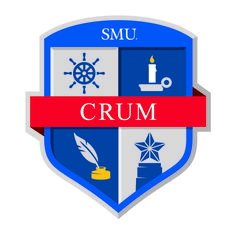"""The quill represents the faculty members and their scholarly work (Wisdom). On the upper-left quadrant, the steering wheel represents navigating the complexities of college, personally and professionally, with integrity (Service). Located at the top right, the candle, signifies learning and enlightenment while at SMU (Purpose). Finally the pillar represents the steadfast discipline that is needed to be successful in college and that Mr. Crum exhibited in his professional life (Discipline)."""
