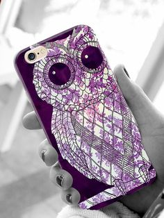 Do you love owls?  Check out this purple damask styled cellphone case on sale now for only $15.  #owls #purple