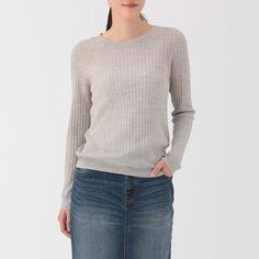 ウールシルクワイドリブセーター 婦人S・ライトグレー   無印良品ネットストア