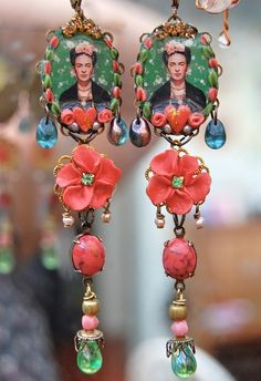 DIY handmade Frida portrait earrings