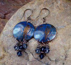 Bird Earrings Blue Bird Earrings Copper Etched by ccjewelrydesign, $29.00